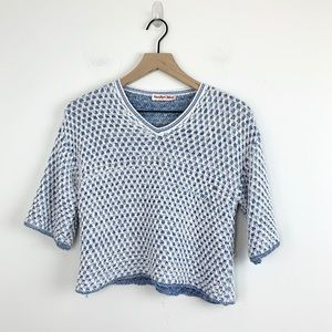 See by Chloe | Blue White Knit Cropped Sweater 4